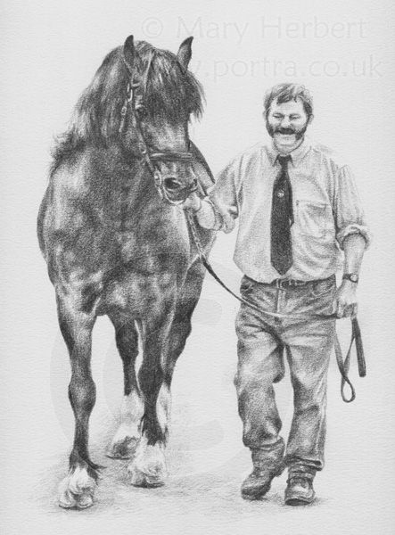 Welsh cob and handler sketch portrait by Mary Herbert