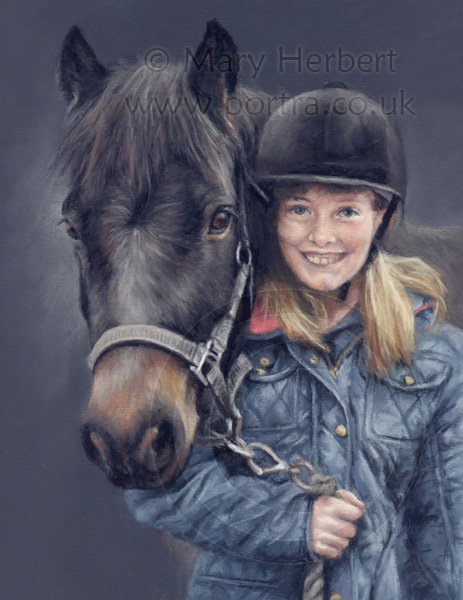 Pony and rider portrait by Mary Herbert